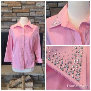 Tops - Pink Rhinestone Embellished Button Down Blouse